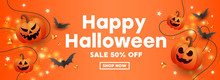 Happy Halloween Sale Banner With Pumpkins, Stars And Bats On Orange Background.