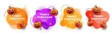 Creative Modern Set Banners For Halloween Celebration With Scary Face Of Pumpkins Gold Stars. Special Seasonal Offer.