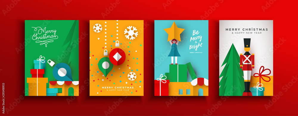 Fototapety, obrazy: Christmas New year papercut holiday toy card set