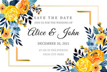 Yellow And Blue Wedding Card With Floral Watercolor