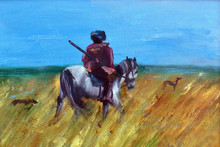 Oil Painting. Hunter On A Horse With Dogs. Autumn Hunting Drawing.