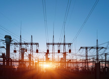 Electrical Substation Silhouette On The Dramatic Sunset Background