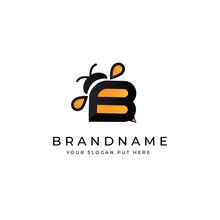 B Letter Bee Logo Design Template Vector Eps