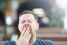 Exhausted Sleepy Male Yawning ...