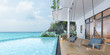 Leinwanddruck Bild - Sea view swimming pool