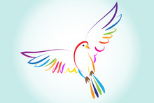 Dove Of Peace Bird Flying On The Sky Logo Vector Religious Symbol Image