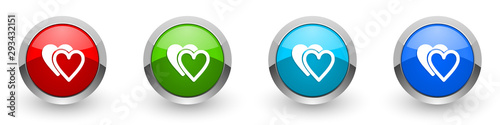 Stampa su Tela  Love silver metallic glossy icons, red, set of modern design buttons for web, in