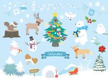 冬のかわいい動物イラスト