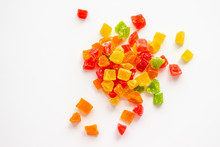 Bright Colorful Candied Fruits On White Background