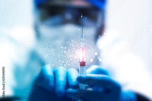 vaccino, scienziato, siringa, iniezione, prelievo