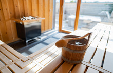 Indoor Of A Finnish Sauna, Wit...