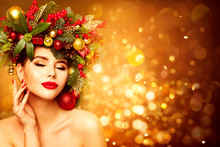 Christmas Woman Face Beauty Portrait, Wreath Hairstyle. Xmas Fashion Model Makeup, Beautiful Girl On Golden Background