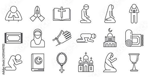 Religion prayer icons set Fototapeta