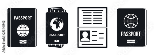 Passport document icons set. Simple set of passport document vector icons for web design on white background