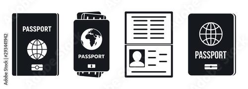 Passport document icons set Fototapet