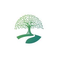 Tree Logo Design Vector Template.River Tree Illustration