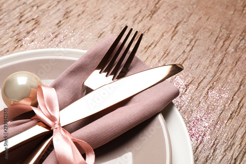 Canvas Prints Akt Beautiful Christmas table setting on brown background, closeup