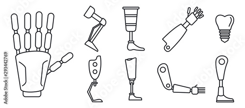 Bionic artificial limbs icons set Obraz na płótnie