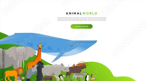 Photo Wild animal landing page template background