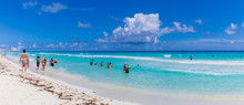View Of Cancun Beach In Caribbean Sea. Exotic Paradise. Travel, Tourism And Vacations Concept