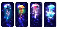 Glowing Vivid Jellyfish On Underwater Background