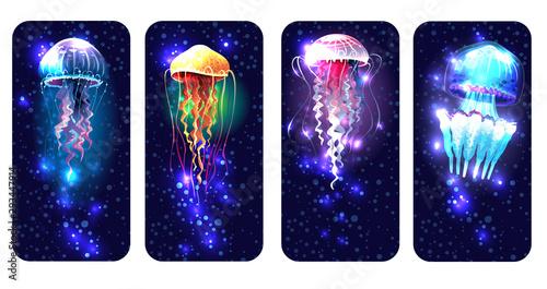 Photographie Glowing vivid jellyfish on underwater background
