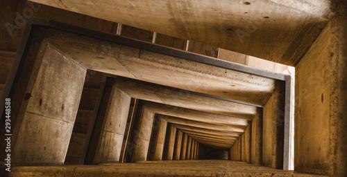Fototapeta Artistic spiral staircase seen from above obraz