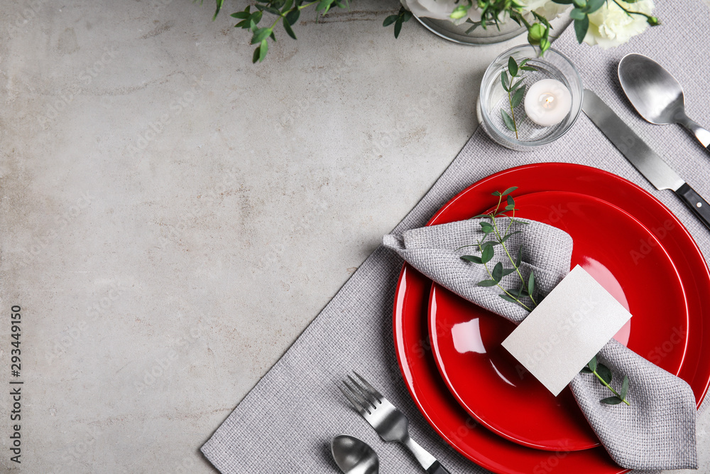 Fototapety, obrazy: Elegant festive table setting with blank card on grey background, flat lay. Space for text