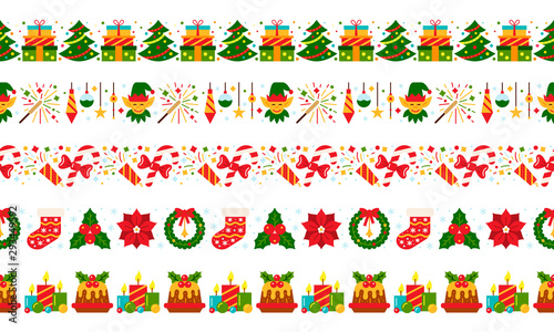 Türaufkleber Künstlich christmas border vector seamless pattern red green