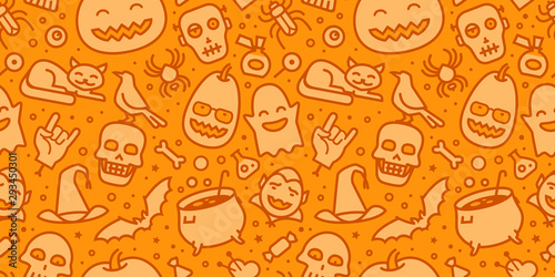 fototapeta na ścianę Halloween party seamless background. Decorative pattern vector illustration