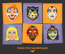 Set Of Vintage Style Halloween Masks. Design Elements For Posters, Stickers, Greeting Cards. Vector Illustration.