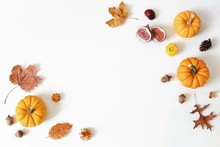 Autumn, Fall Creative Composition Of Orange Pumpkins And Figs. Colorful Maple And Oak Leaves, Flowers, Acorns Isolated On White Table Background. Decorative Floral Corners. Flat Lay, Top View. Harvest