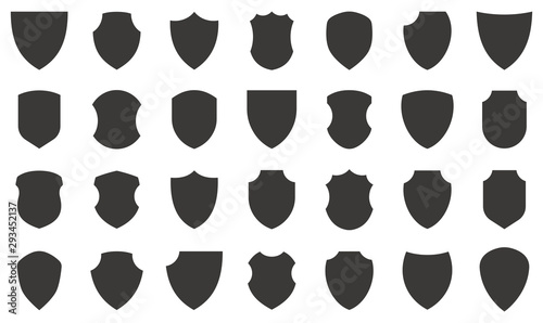 Photo Shield icons collection. Protect shield vector