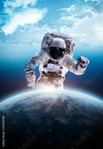 astronaut, space, earth, sky, planet, spaceman, cosmonaut, abstract, glode, sky, Canvas Print