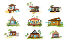 Set Of Different Styles Of Bungalows On Shore Vector Illustration