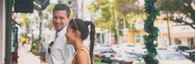 Happy Interracial Couple Talki...