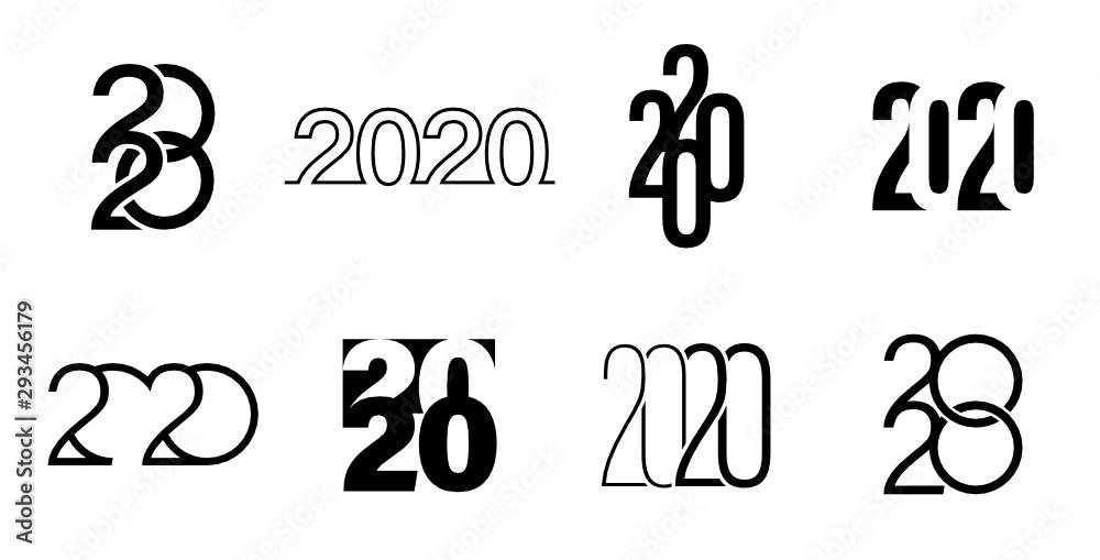 Fototapeta Graphisme calendrier et vœux 2020