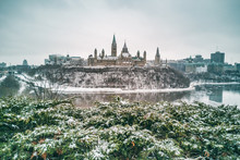 Ottawa Parliament In Winter . Cityscape Of Canada's Capital City, Canadian Travel Destination In Snow Landscape.