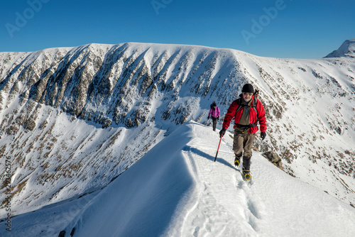 United Kingdom, Scotland, Ben Nevis, Carn Mor Dearg, mountaineers