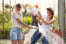 Two Happy Young Women Having F...