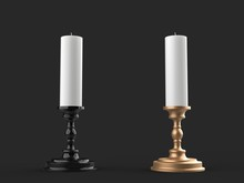 White Wax Candles On Black And Gold Candle Holders