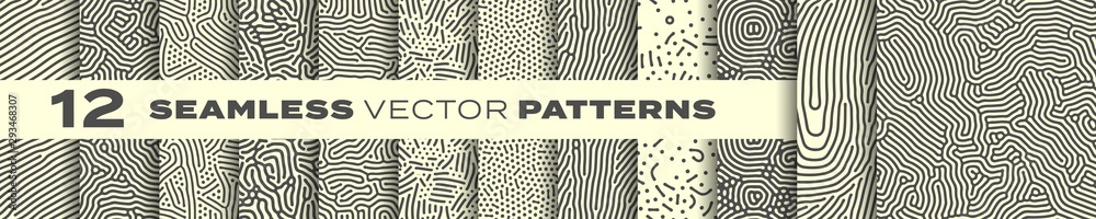 Fototapeta Abstract organic lines seamless patterns vector backgrounds set. Modern trendy creative memphis and biological patterns with dots and irregular squiggle lines texture design