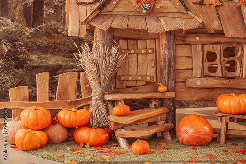 Obraz fairytale oak house, interior decor, autumn background with pumpkins. - fototapety do salonu
