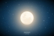 Vector Illustration With Full Moon In Blue Night Starry Sky. Space Background With Earth Satellite. White Celestial Object For Planetarium Or Astronomy Calendar