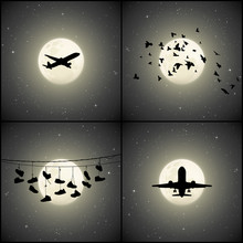 Set Of Silhouettes In Night Sk...
