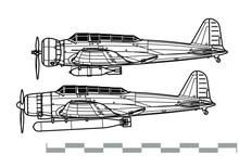 Nakajima B5N Kate. Outline Vector Drawing