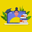 Online education. Webinar. Laptop screen, a stack of books and a graduation cap. Young female character portrait. Flat editable vector illustration, clip art