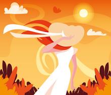 Woman In Autumn Vector Design