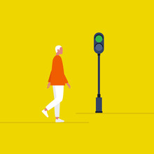 Green Traffic Light. Young Male Pedestrian Crossing The Road. Safety. Flat Editable Vector Illustration, Clip Art