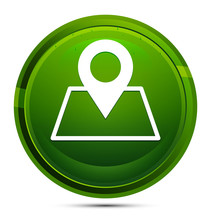Map Point Icon Glassy Green Round Button Illustration